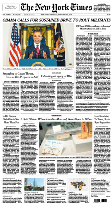 screen grab of the 9/11/2014 issue of the NYTimes